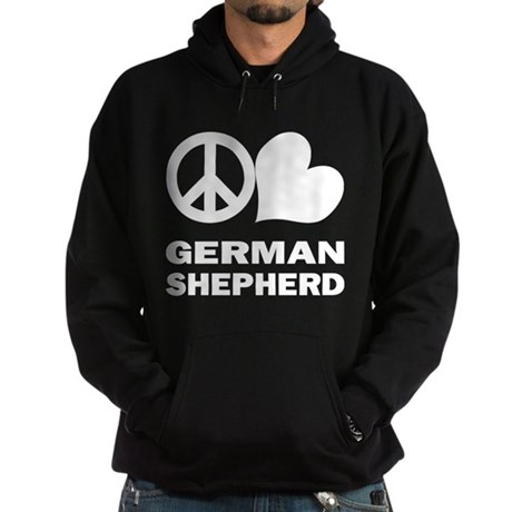 Peace Love German Shepherd Hoodie (dark)