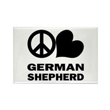 Peace Love German Shepherd Rectangle Magnet