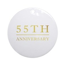 55th Anniversary Gold Shadowed Ornament (Round)