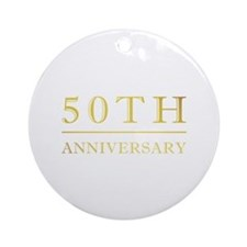 50th Anniversary Gold Shadowed Ornament (Round)
