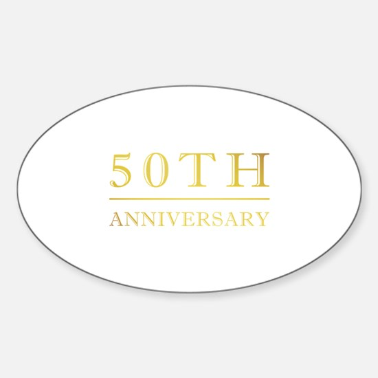50th Anniversary Gold Shadowed Sticker (Oval)