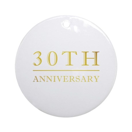 30th Anniversary Gold Shadowed Ornament (Round)