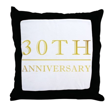 30th Anniversary Gold Shadowed Throw Pillow