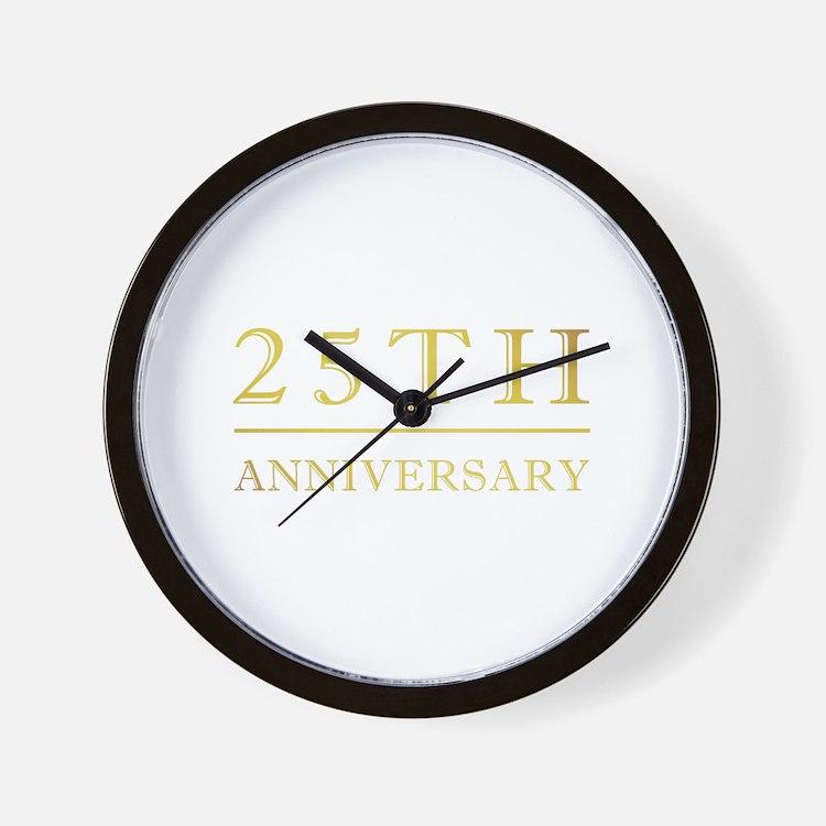 25th Anniversary Gold Shadowed Wall Clock
