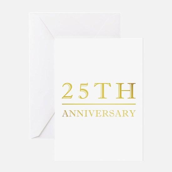 25th Anniversary Gold Shadowed Greeting Card