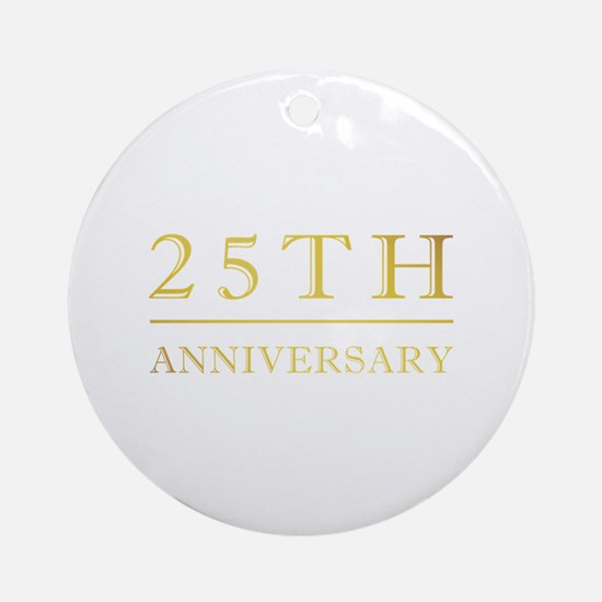 25th Anniversary Gold Shadowed Ornament (Round)