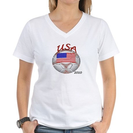 USA 2010 World Cup Soccer Women's V-Neck T-Shirt