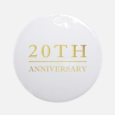 20th Anniversary Gold Shadowed Ornament (Round)