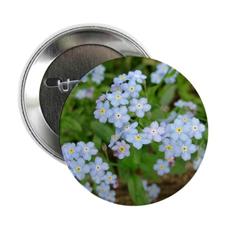 "Forget Me Not Flower Blossoms 2.25"" Button (100 pa"