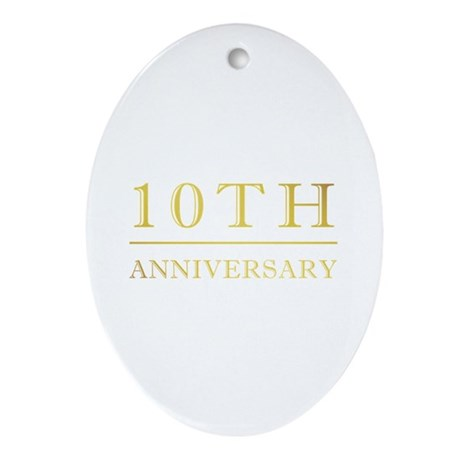 10th Anniversary Gold Shadowed Ornament (Oval)