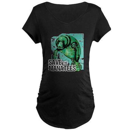 Save the Manatees Maternity Dark T-Shirt