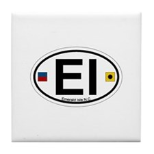 Emerald Isle NC - Oval Design Tile Coaster