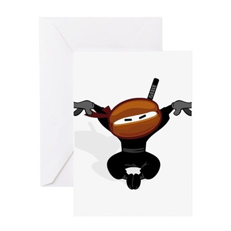 Ninja Barista Jumping Greeting Card