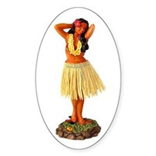 Retro Hula Girl Oval Decal