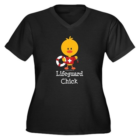 Lifeguard Chick Women's Plus Size V-Neck Dark T-Sh