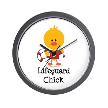 Lifeguard Chick Wall Clock by chrissyhstudios