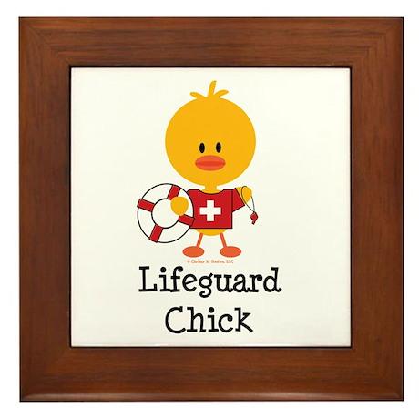 Lifeguard Chick Framed Tile