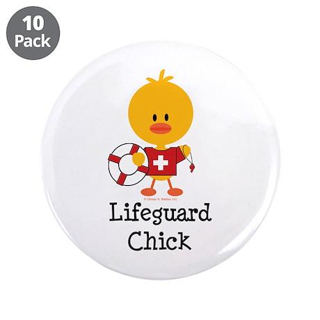 "Lifeguard Chick 3.5"" Button (10 pack)"