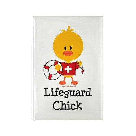 Lifeguard Chick Rectangle Magnet (10 pack)