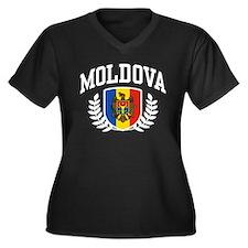 Moldova Women's Plus Size V-Neck Dark T-Shirt