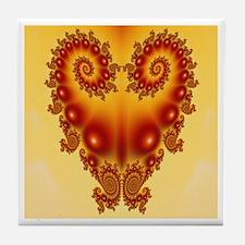 Heart Fractal Tile Coaster