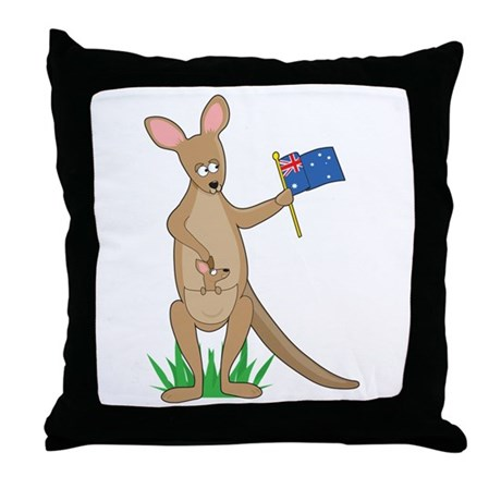 Animal Alphabet Kangaroo Throw Pillow