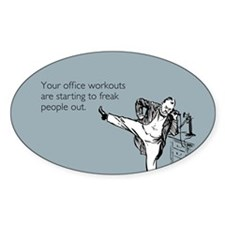 Office Workouts Sticker (Oval)