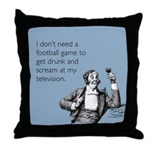 Football Drunk Throw Pillow