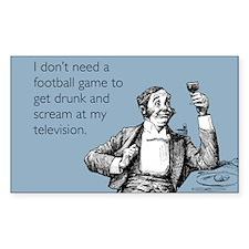Football Drunk Sticker (Rectangle)