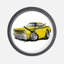 Duster Yellow-Black Car Wall Clock