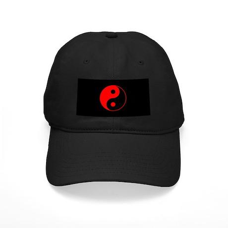 Red Yin Yang Symbol Black Cap
