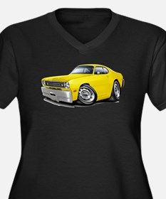 Duster Yellow Car Women's Plus Size V-Neck Dark T-