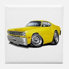 Duster Yellow Car Tile Coaster