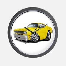 Duster Yellow Car Wall Clock
