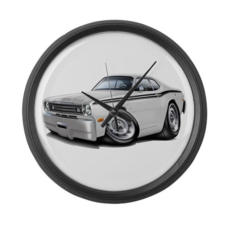 Duster White-Black Car Large Wall Clock