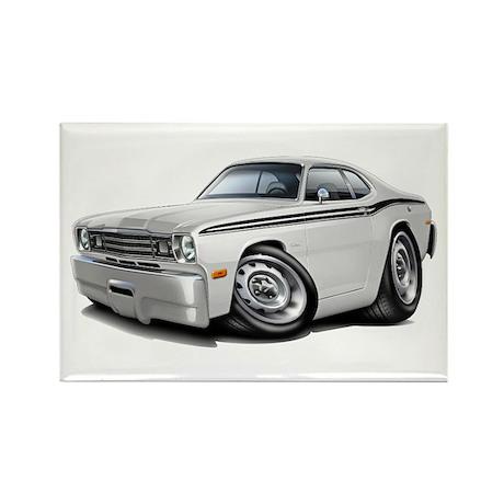 Duster White-Black Car Rectangle Magnet