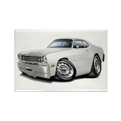 Duster White Car Rectangle Magnet