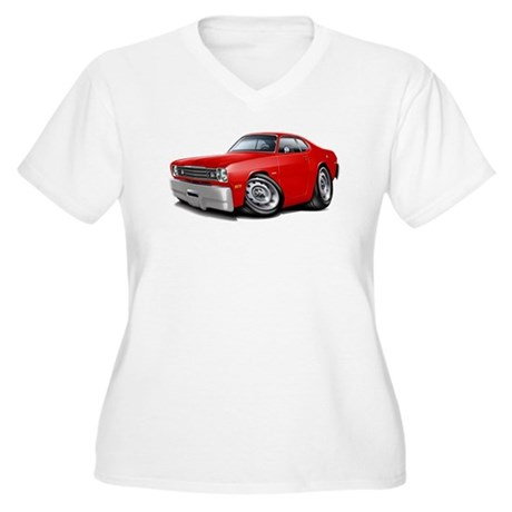 1970-74 Duster Red Car Women's Plus Size V-Neck T-