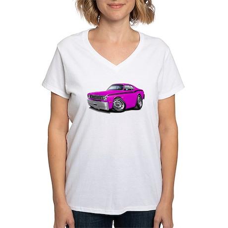 Duster Pink-Black Car Women's V-Neck T-Shirt