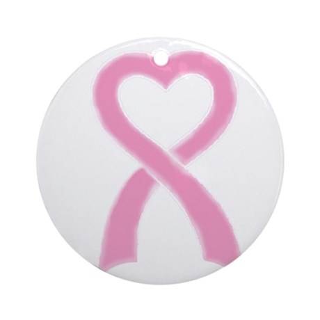 Pink Ribbon Heart Breast Canc Ornament (Round)