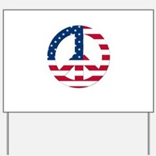 USA Flag Peace Sign Yard Sign