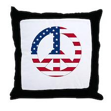 USA Flag Peace Sign Throw Pillow