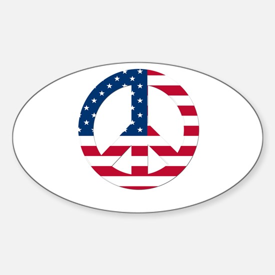 USA Flag Peace Sign Sticker (Oval)