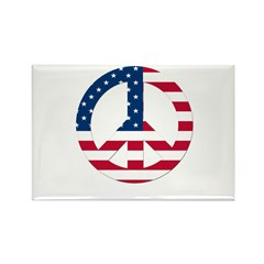 USA Flag Peace Sign Rectangle Magnet (10 pack)
