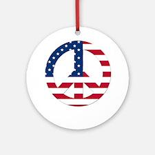 USA Flag Peace Sign Ornament (Round)