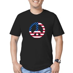 USA Flag Peace Sign Men's Fitted T-Shirt (dark)