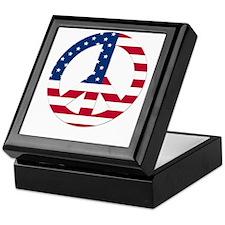 USA Flag Peace Sign Keepsake Box