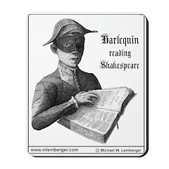Harlequin Reading Shakespeare Mousepad