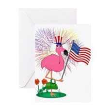 Funny 4th of July Flamingo Greeting Card