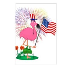 Funny 4th of July Flamingo Postcards (Package of 8